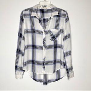 Bella Dahl Plaid Shirt White/Blue/Gray Size XS